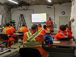 Students learning theory in Underground Classroom 2